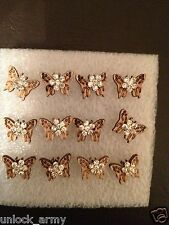 The Butterfly Swarovski Crystal Bling Handmade Stud Earrings Brown 6 Pairs A32