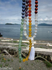 UNIQUE CUSTOM DESIGN 7 CHAKRAS 7 UNIQUE GEMSTONES 8MM TIBETAN BUDDHIST MALA YOGA