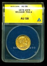 BELGIUM 1878 GOLD COIN 20 FRANCS * ANACS CERTIFIED GENUINE  AU 58 * ROYAL LUSTER