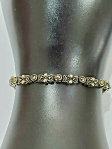 Marcasite Sterling Silver Tennis Bracelet Hearts