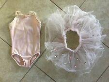 ☀ Danskin Girls Pink Ballet Leotard Body Suit & Tulle Tutu w/ Flowers Applique S