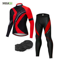 Men Cycling Set MTB Bike Long Sleeve Jersey Pants Padded Geometric Tops Trousers