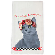 Russian Blue Cat Valentine's Day Kitchen Dish Towel Pet Gift