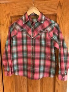 Wrangler Medium Girls XL Shirt long sleeve pearl button plaid