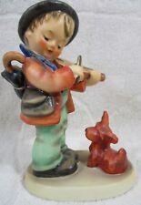 "Goebel Hummel ""Puppy Love"" 5"" Figurine TMK5 Boy Plays Violin & Dog West Germany"