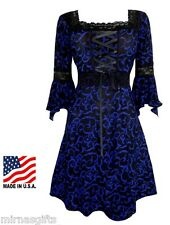 BLUE BLACK  PLUS SIZE LONG SLEEVE RENAISSANCE STYLE CORSET DRESS 1X 2X 3X 4X 5X