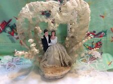 Vtg wedding cake topper bride and groom frosting lace lily of valley 50s plaster