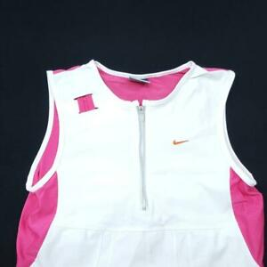 Womens NIKE Dri-Fit Fitted Gym Tank Top - M - White Pink Zipper
