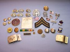 VINTAGE MIXED LOT US MILITARY PINS STERLING DD 214 CARD PATTERSON HEALTH CLINIC