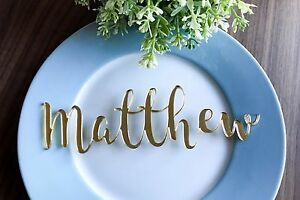 Personalised Laser Cut Gold / Silver Mirror Acrylic or Wooden Name Placecard
