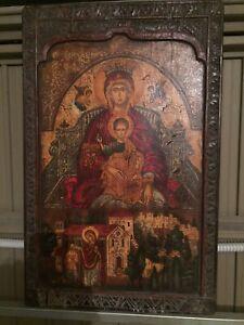 Icona In Legno Madonna Con Gesu Bambino Madre Di Dio