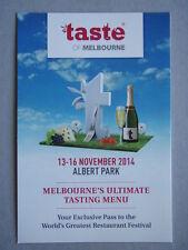 Avant Card #18302 2014 Taste Of Melbourne Restaurant Festival Postcard