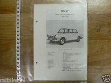 B2-BMW TYPEN 700, 700 SPORT EN LS 1959-1964 -INFO TECHNICAL CAR OLDTIMER