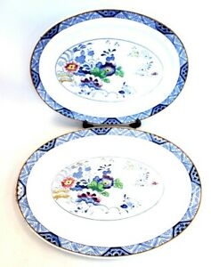 Pair of Vtg BOOTHS NETHERLANDS Blue & White Silicone China Serving Plates - C53