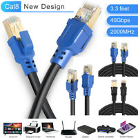 RJ45 Male to 8P8C Male Gold Plated Shielded Cat8 Ethernet Connector Cable Cables