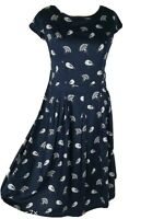 Mudd And Water Blue Bird Print Smart Floaty Skater Fit Flare Tea Dress Size 12 M