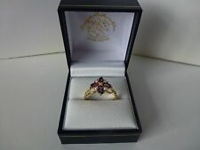 9ct 9carat Yellow Gold Amethyst & Pearl Cluster Ring, Size S