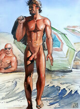 "Art Gay Erotic Watercolor ""On The Beach"""