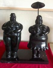 FERNANDO BOTERO SIGNED SCULPTURE UMBRELLA LADY & MAN WITH A CANE