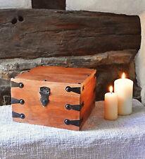 ❀ Holzkiste Schatulle Mittelalter 15cm Holz Massiv Schmuck Kästchen Box Antik