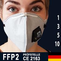 FFP2 Maske mit VENTIL grau schwarz ERA 4210V Filter Masken Atemschutzmaske ✅ CE