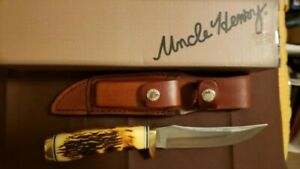 "Schrade 153UH Uncle Henry 9 1/4"" Fixed Blade Knife w/Stone & Sheath"