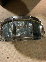 "Vintage 1960s Pearl ""Script Logo"" Marine Blue 14"" Snare Drum MIJ"