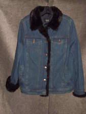 Woman's DENNIS BASSO Denim Fur Lined Jacket Size M