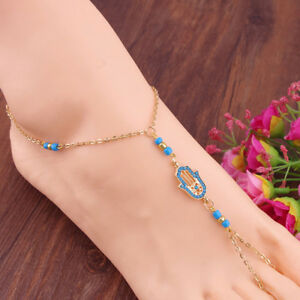 Turquoise hand of Hamsa ankle toe ring chain