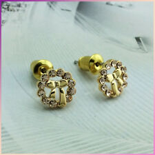 18K GOLD Plated Bow Tie Bow Knot Ribbon Crystal Stud Earrings Gift