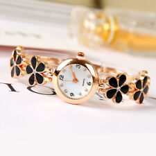 Women Girls Fashion Flower Crystal Watch Quartz Analog Bracelet Wrist Watches