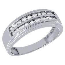 8mm Channel Set Engagement Ring 1/4 Ct. 10K White Gold Mens Diamond Wedding Band