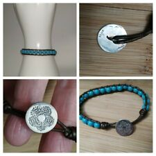 LA Bracelet Turquoise Leather with Sterling Silver Flower Button