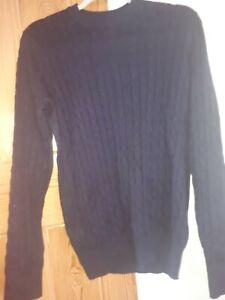 John Lewis Navy Blue cashmere And cotton Cable Knit Jumper Size M