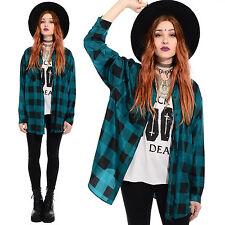 Vintage 90s SILK Grunge PLAID Oversized Jacket Shirt Blouse Top Long Lumberjack