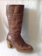 Dolcis Brown Mid Calf Leather Boots Size 37