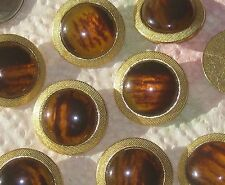 """Set 9 RICH AMBER Tortoise on Gold tone METAL Fancy Vintage new Buttons 7/8"""""""
