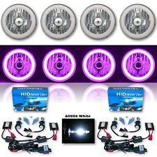 "5-3/4"" Purple SMD LED Halo Crystal Clear H4 Headlight & 6k HID Bulb Set of 4"