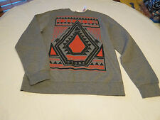 Men's Volcom stone surf skate brand long sleeve sweat shirt L grey heather NWT