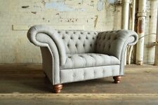 MODERN HANDMADE REGENCY LIGHT GREY WOOL CHESTERFIELD SNUGGLE CHAIR LOVE SEAT