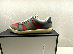 $870 Gucci Gray Screener Distressed GG Shoes Gucci Size 08  US 8.5 - 9 Men Auth.