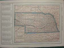 1926 MAP ~ NEBRASKA PRINCIPAL CITIES & TOWNS COUNTIES LINCOLN DUNDY PERKINS