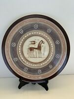 Kepaueulas Aqhnai Plate Greek Horses, Bird Pottery Brown Hand Painted RARE 13""