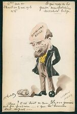 art Roberty Belgium Socialism Strikes Political comic 1913 hand painted postcard