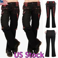 US Women Cargo Pants Punk Gothic Strap Slacks Ladies Wide Leg Trousers Overalls