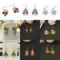 Women Girls Christmas Theme Tree Bell Drop Dangle Earrings for Xmas Party Gift