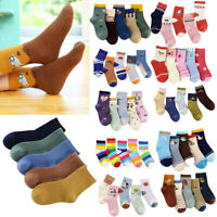 5PCS Girls Boys Cotton Socks Childrens Kids Cute Winter Warm Ankle Boot Sock UK