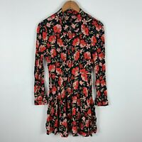 Zara Womens Dress Small Black Floral Long Sleeve Button Closure Collared