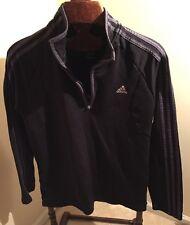 ADIDAS 3 Stripe Thermal Part Zip  Pullover Athletic Track Jacket Misses M Black