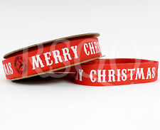 Vintage Red White Merry Christmas Cotton Ribbon Cards Gift Wrap 5 Meter Roll